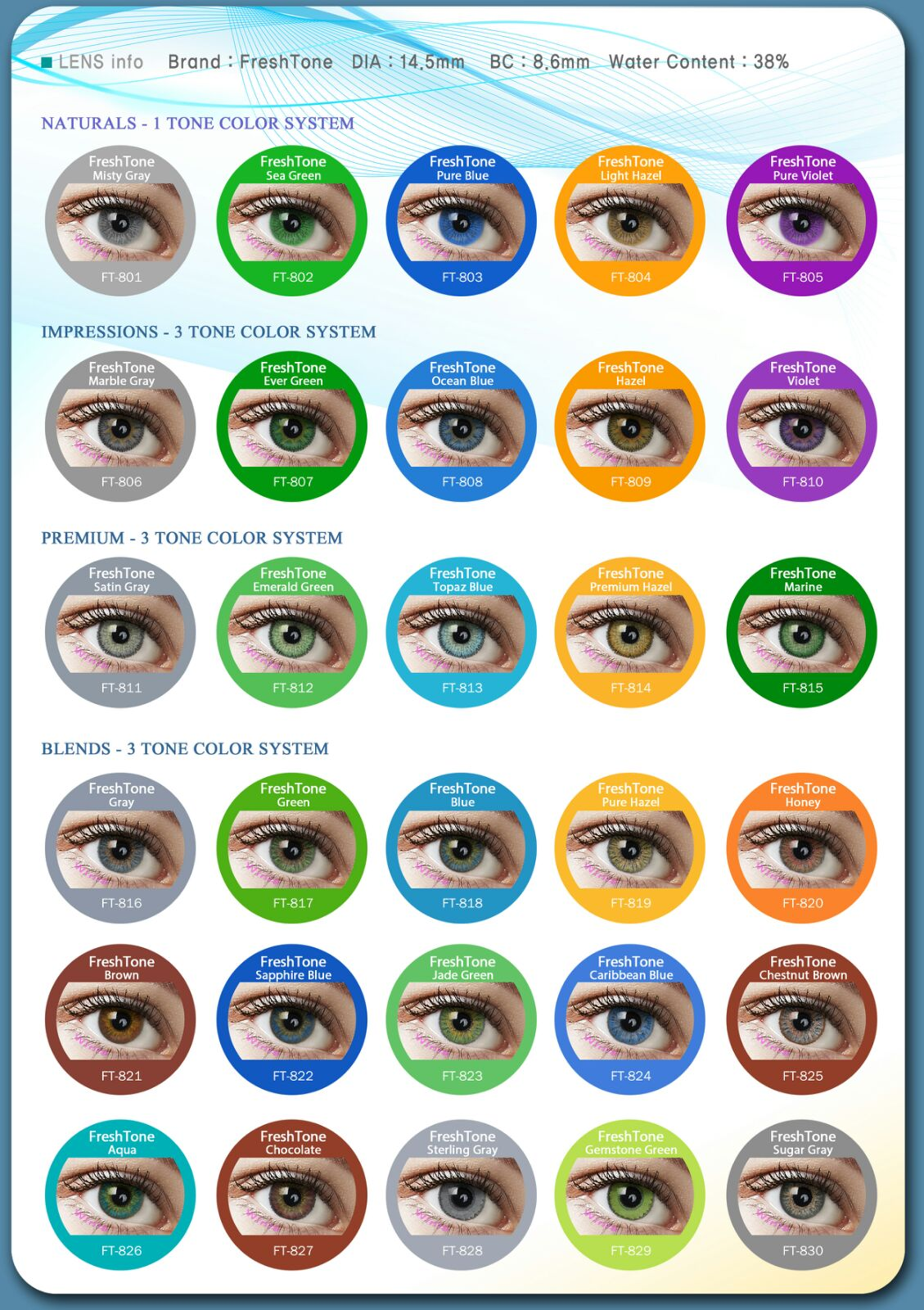 7821ebdea3 korean FreshTone cosmetic contact lenses 50 colors